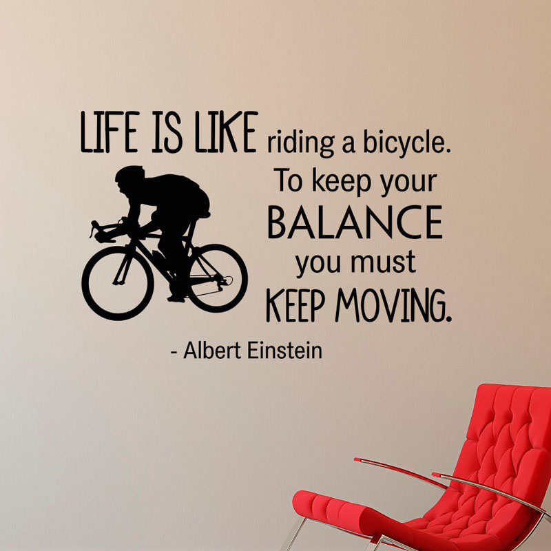 Life Is Like Riding A Bicycle Balance Wall Stickers Creative Home Decor Living Room Vinyl Adhesive Wall Decals