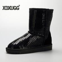 Moda de Piel de Invierno de Australia de Mitad de la Pantorrilla Botas de Felpa Nieve Botas de Cuero Genuino del Zurriago De Neige Bottes Zapatos Calientes Para mujeres Femme(China (Mainland))