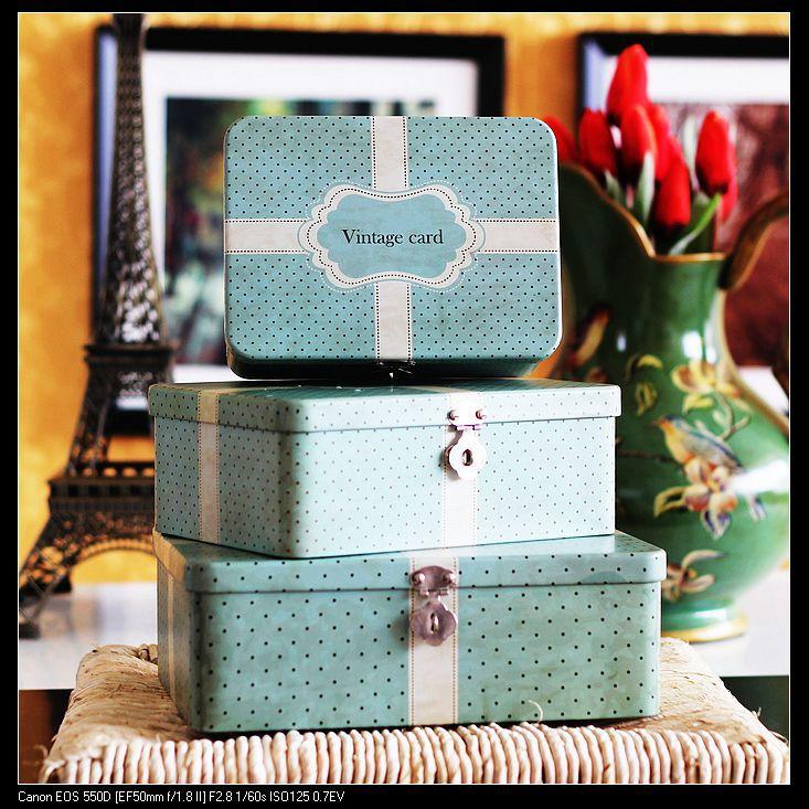 2015 Hot Selling Zakka Style Home Decoration Metal Storage Box Set L/M/S Size 3 pcs/set(China (Mainland))