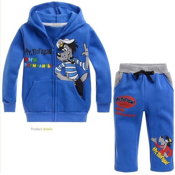 Fashion boys clothing set Lovely Children kids cartoon clothes 100% cotton Hoodies+pants 2pcs/set TZ036