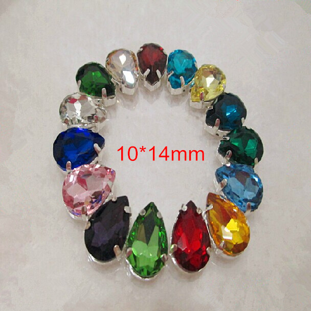 Free Shipping -42pcs Assorted Color Teardrop Sewing On GLASS Rhinestones For Wedding Dress,Shoes,Hairwear,Cellphone Case,10*14mm(China (Mainland))