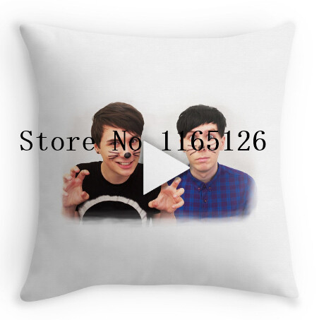 Hot Pillow cases cool Dan & Phil YouTube Play Button two sides printing Square Zippered Pillowcase free shipping(China (Mainland))