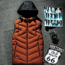 Мужская зимняя жилетка мужская повседневная жилетка пуховая хлопковая куртка с капюшоном Мужская Утепленная куртка 8XL 7XL 6XL 5XL 4XL XXXL Красный ...(China)
