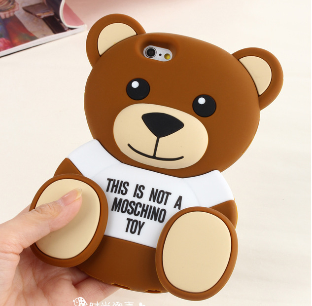 2015 new fashion case For iPhone 6 6 plus case Silicone Cover cartoon 3D cute luxury Toy Teddy Bear Coque Moshino Phone Case(China (Mainland))