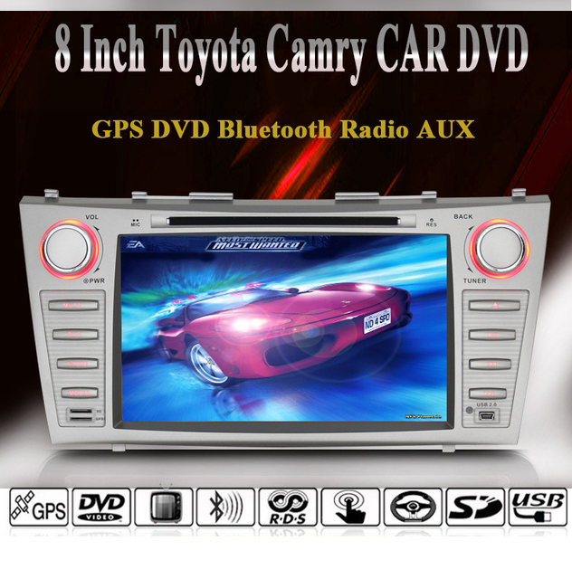 2007-2011 Toyota Camry 2 DIN Radio / GPS Navigation / Bluetooth / Radio / RDS / AUX / 1080P Video Playing