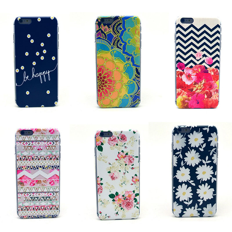 Free Shipping 2015 Retro floral Roses Daisy Flower Pattern Mobile Phone Accessories Cases For iPhone 6 Plus Cellphone Vintage PC(China (Mainland))