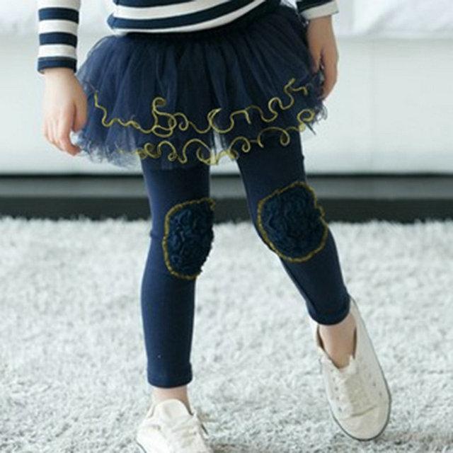 Дети девочки гетры сборок марлевые брюки юбки одежда брюки для 2-7Y