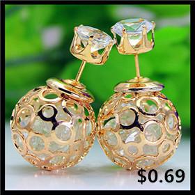 brand jewelry double pearl stud earrings for Женщины cute rainbow stripe beads earings ...
