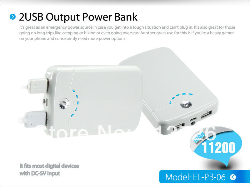 Brand High Capacity 11200mah Smart Power Bank Charger Dual USB Port - Shenzhen Green Electronics Co.,LTD store