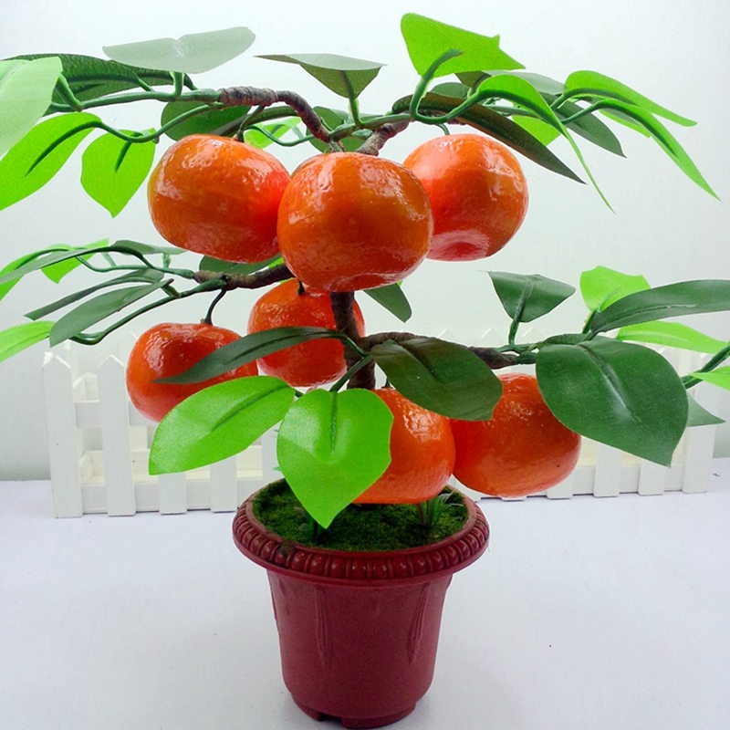 Popular artificial apple trees buy cheap artificial apple for Fruit orange decoration
