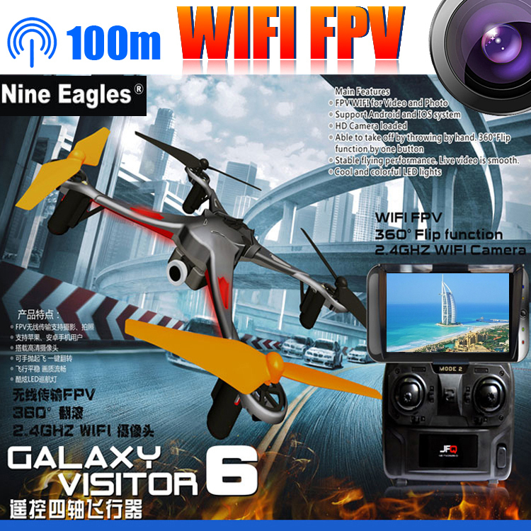 Nine Eagles Galaxy Visitor 6 RTF GV6 RC helicopter with HD Camera FPV Phone Pad WIFI Drone 4CH 6Axis Remote Control Quadcopter(China (Mainland))