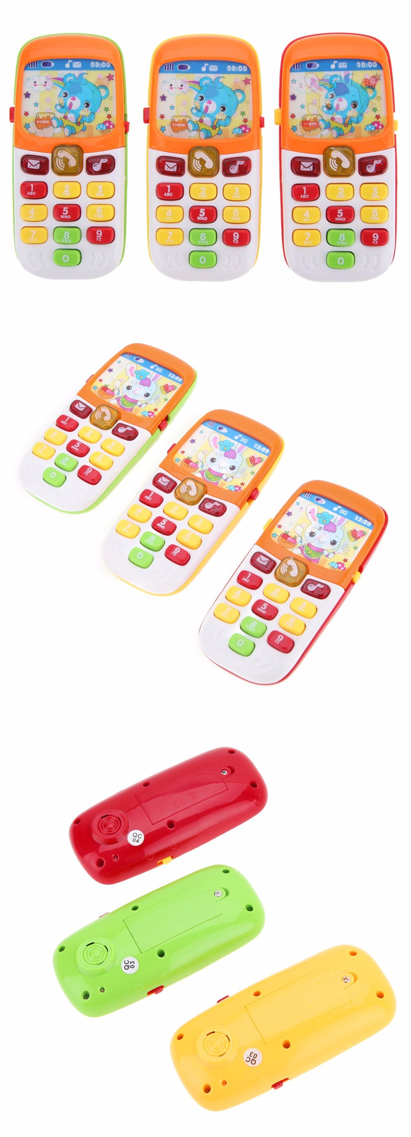 Mini Cute Electronic Toy Phone Children Phone Toy Musical Early Education Cartoon Mobile Phone Telephone Cellphone Baby Toys