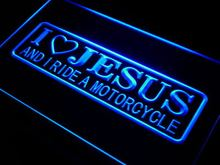 i724-b I Love Jesus and I Ride Motorcycle LED Neon Sign Wholesale Dropshipping(China (Mainland))