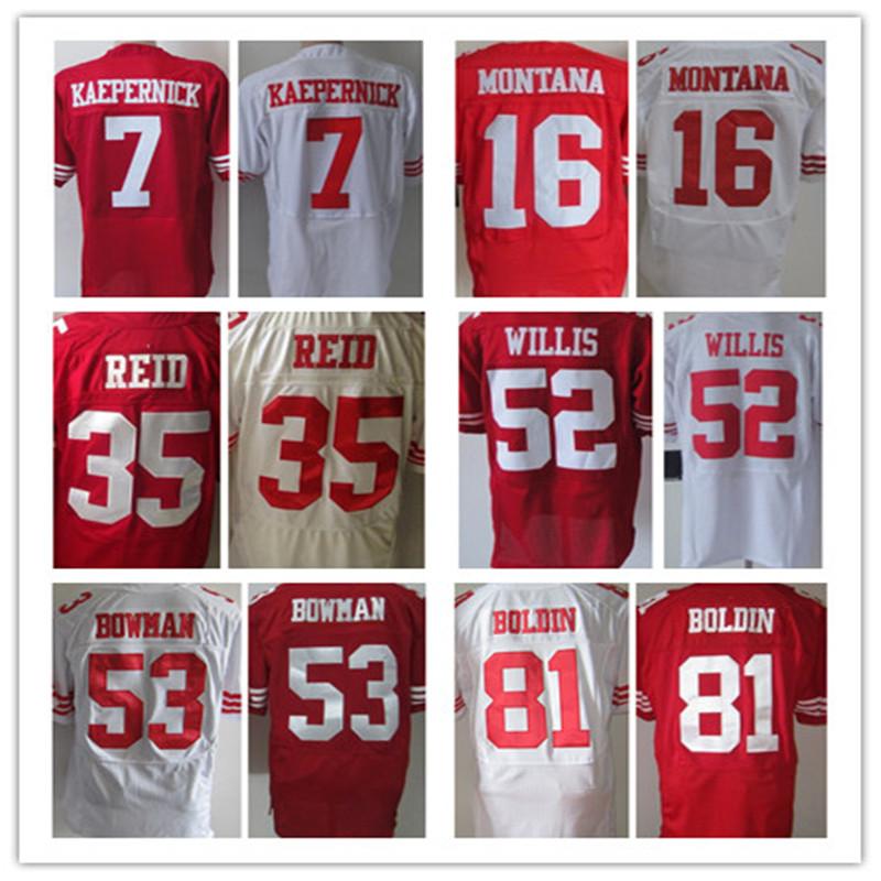 Free shipping Men's Jerseys #7 Colin Kaepernick Elite NaVorro Bowman 80 Jerry Rice jerseys Red White Size:M L XL XXL XXXL(China (Mainland))