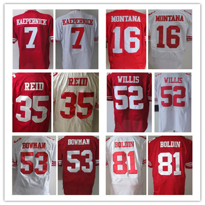 Free shipping Men's Jerseys #7 Colin Kaepernick Elite NaVorro Bowman 80 Jerry Rice jerseys Red White Size:M L XL XXL XXXL(China (Mainland))