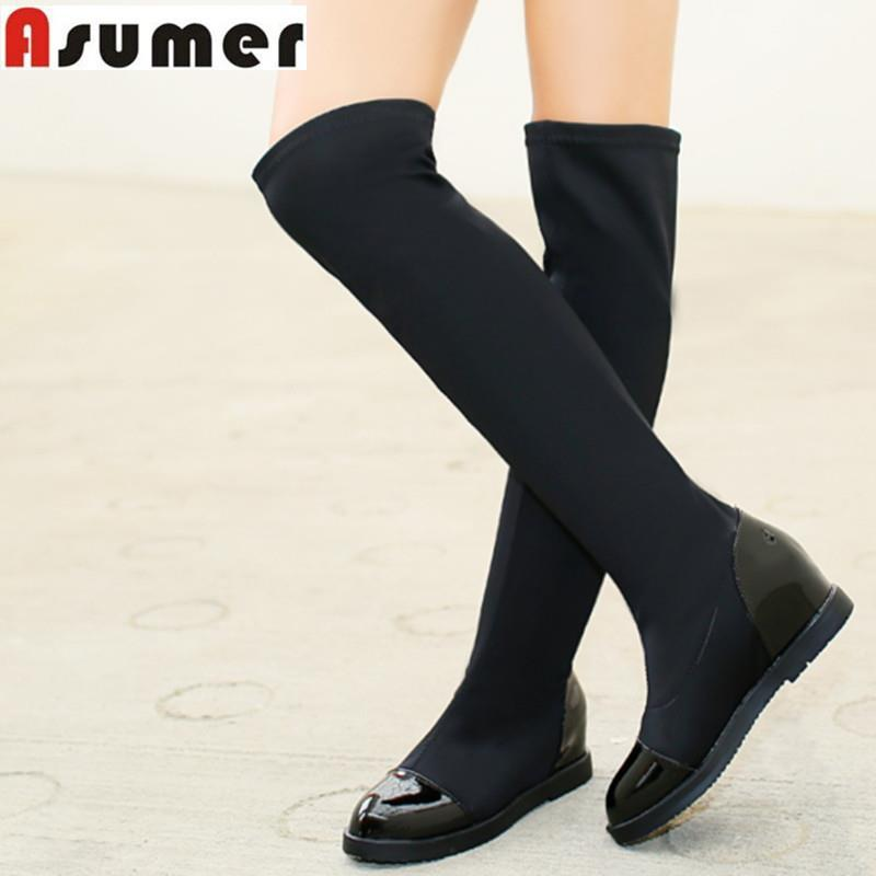 2016 new fashion over the knee boots flat heel height increasing women boots slip on solid black autumn winter shoes