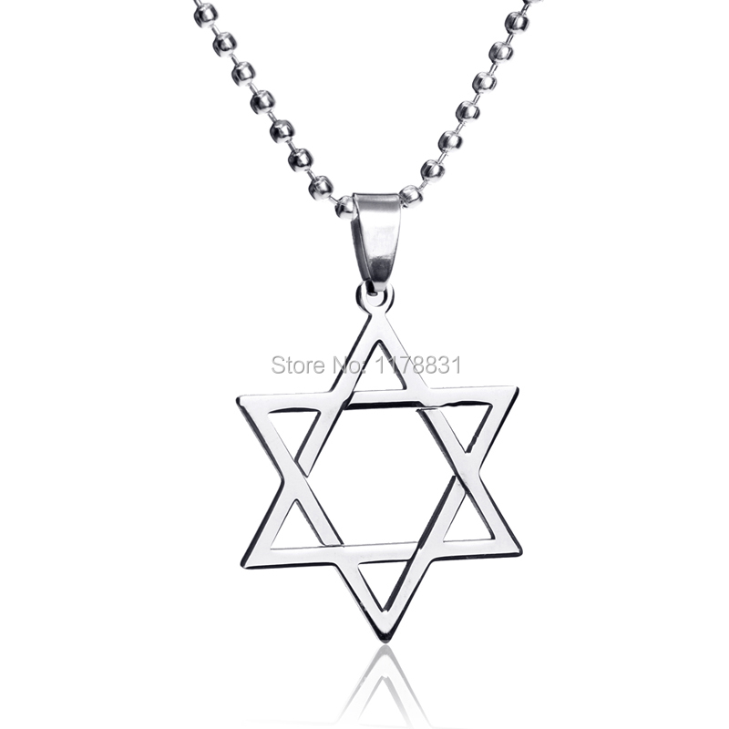 New Fashion High Quality Stainless Steel Shield Star of David Pendants Beads Chain Necklaces Jewelry For Men(China (Mainland))