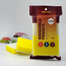 Wholesale Free Shipping High Quality gold colour dish washing sponge with English packing Kitchen bowl cleaning/wiping tools (China (Mainland))