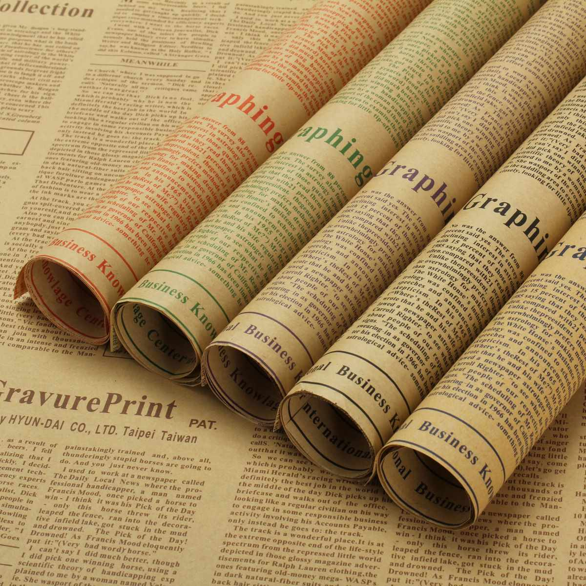 online get cheap wrapping kraft paper com alibaba group newspaper kraft paper wrapping paper new retro letters printing flowers novelty double sides party gift decoration