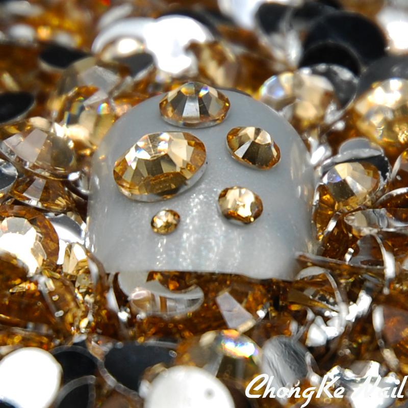 Nail Tools 5000pcs/bag Mixed Sizes Light Brown Round Glitter Nail Art Decorations Rhinestones For 3D Nail Art(China (Mainland))
