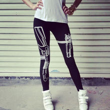 Machine Gun/Work Out Print pants Pencil Fit Running leggings Pants Workout Work Out and Just Do It gym Print Sports Leggings(China (Mainland))