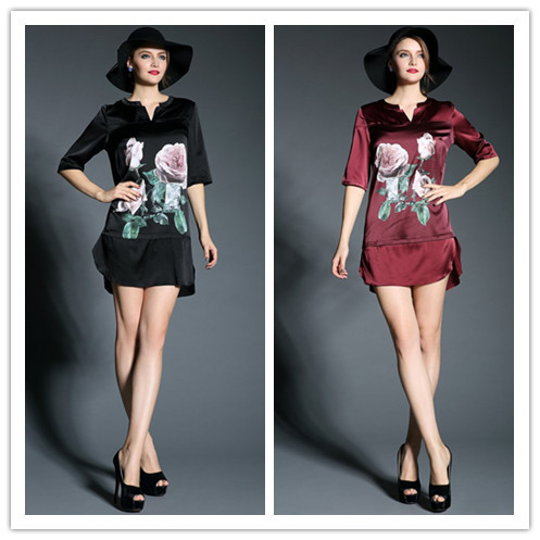 June's Young Cheap Price High Quality 2015 Spring Summer Half-Sleeved Short/Mini V-neck Printed Silk Formal Dress Plus SizeXXL(China (Mainland))