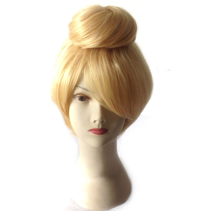30cm short Blonde Cosplay Wig Fairy Tinker Bell Full hair Wig synthetic wigs anime Princess Tinkerbell Adult Size cheap wigs<br><br>Aliexpress
