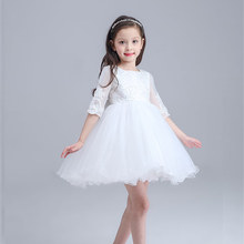 2016 Summer Princess Kids Wedding Dress Girl White Three Quarter Flower girl Party Dress Toddler Infant Children Clothes