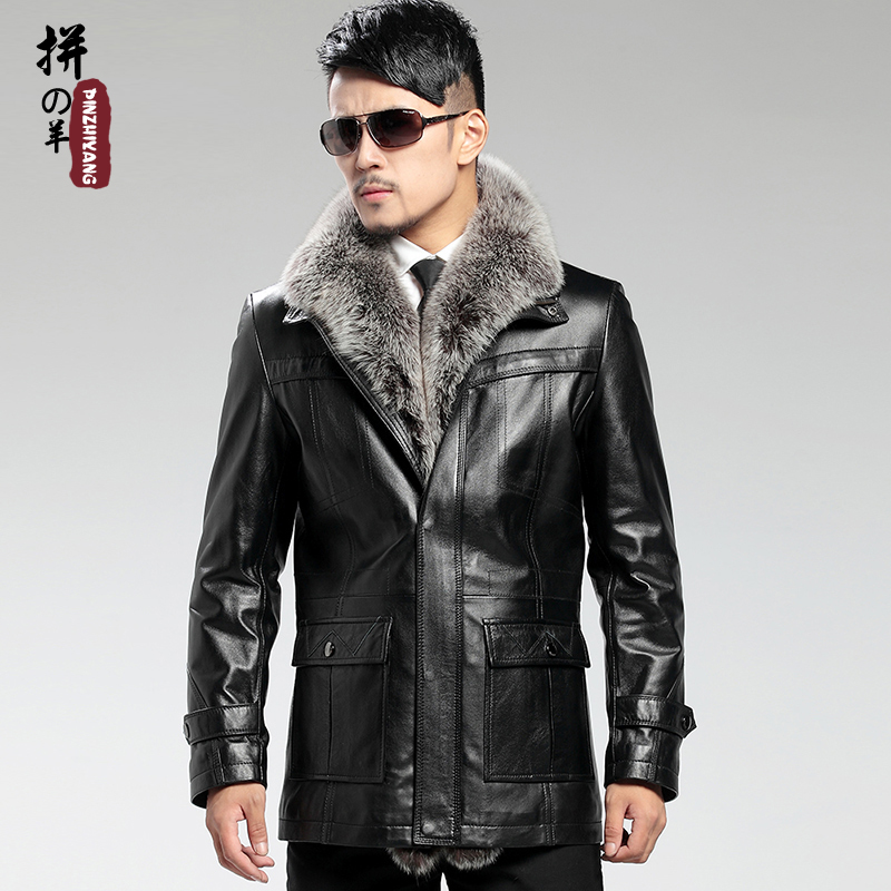 Hot !! Selling men's brand leather jacket , high-grade sheep fur coat winter lapel ,BLACK,M-4XL - T Y HUI's store