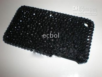 Black 100% Brand New Luxurious Fashion Rhinestone Plastic Back Cover Case for Iphone 3G 3GS
