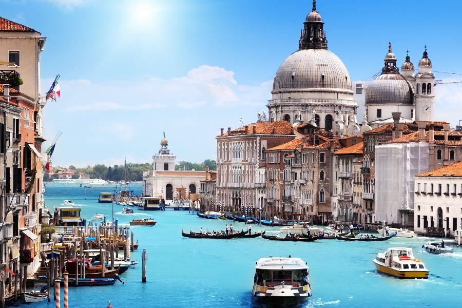 venice italy Santa Maria della Salute cities architecture buildings canal cloth silk art wall poster and prints(China (Mainland))