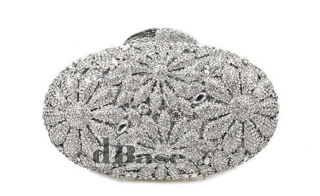 236S silver Crystal Oval Lady Fashion Wedding Bridal Party Night hollow Metal Evening purse clutch bag handbag<br><br>Aliexpress