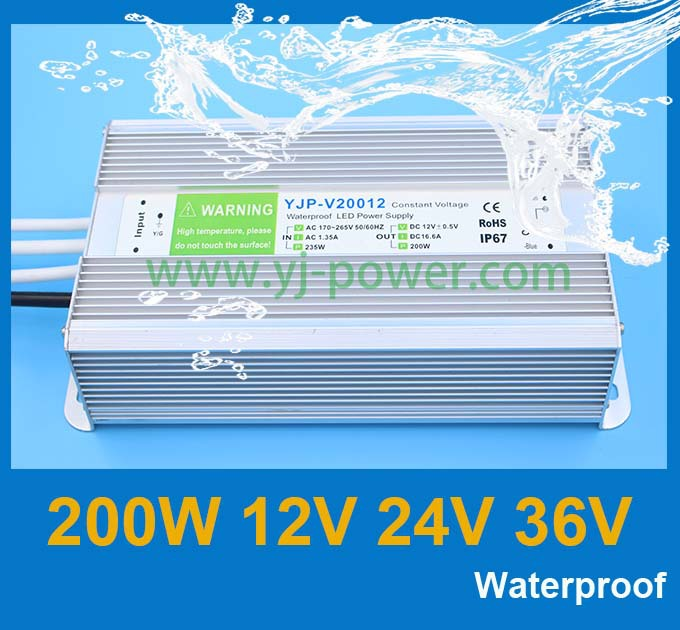 transformer 12v 200w for high LED electronic screen ,ROHS,CE,IP67,Fedex free shipping,10pcs/lot(China (Mainland))