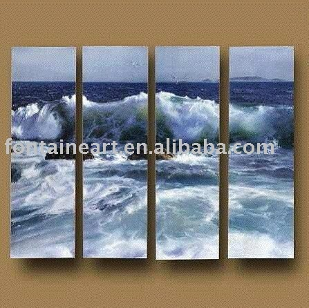 Handmade Modrn Group Seascape wave oil painting ,sea painting,4 panels,blue,white,freeshipping
