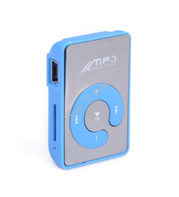 2015 Mini Clip mp3 music player Mirror SD/TF card C Button mp 3 player Media Blue sport mp3 player iSV004796(China (Mainland))