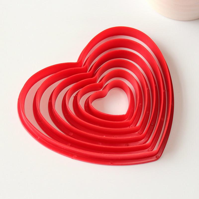 6 pçs/set Plástico Em Forma De Coração Molde Do Bolo Açúcar Selo Do Bolinho Cortador de Biscoito Artesanato Decorações Do Bolo de Ferramentas de Cozinha(China (Mainland))