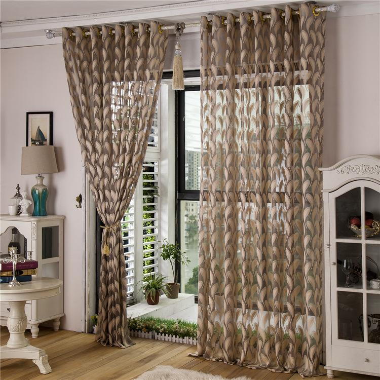 Direct paragraph i feather jacquard curtain fabric hollow translucent ...