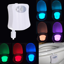 8 Colors LED Toilet Night light Motion Activated Light Sensitive Dusk to Dawn Battery-operated Lamp lamparas 3d tooth lamp(China (Mainland))