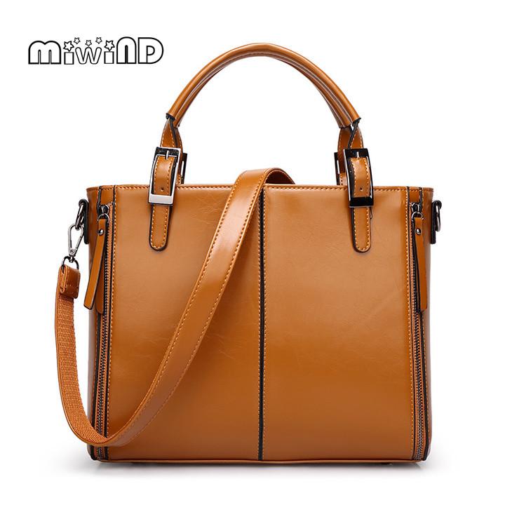 MIWIND Handbags Women Bags Designer Solid Women Leather Handbags European American Style Women Bag Bolsa Feminina Free Shipping