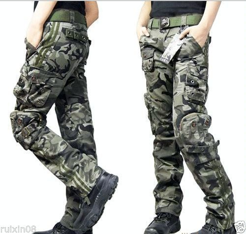 Vego 2015 New Hot Fashion Womens New Combat Camouflage Pants Cargo Military Camo Casual Long Outdoor Trous(China (Mainland))