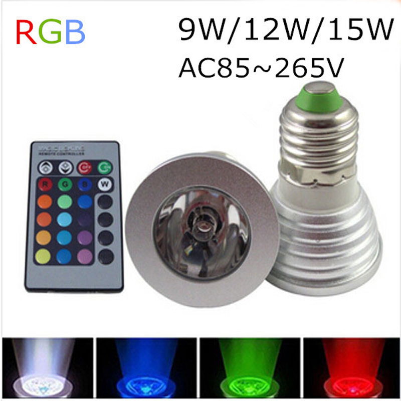 Wholesale 9W RGB LED Spotlight GU10 E27//E14/MR16 16 colour High Tech LED Lamp Spot light + IR remote control Free shipping(China (Mainland))