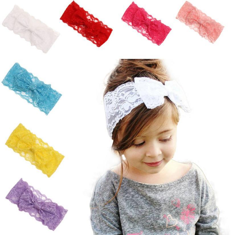 2015 New Fashion Girls Lace Big Bow Hair Band Baby Head Wrap Band Accessories Free Shipping(China (Mainland))