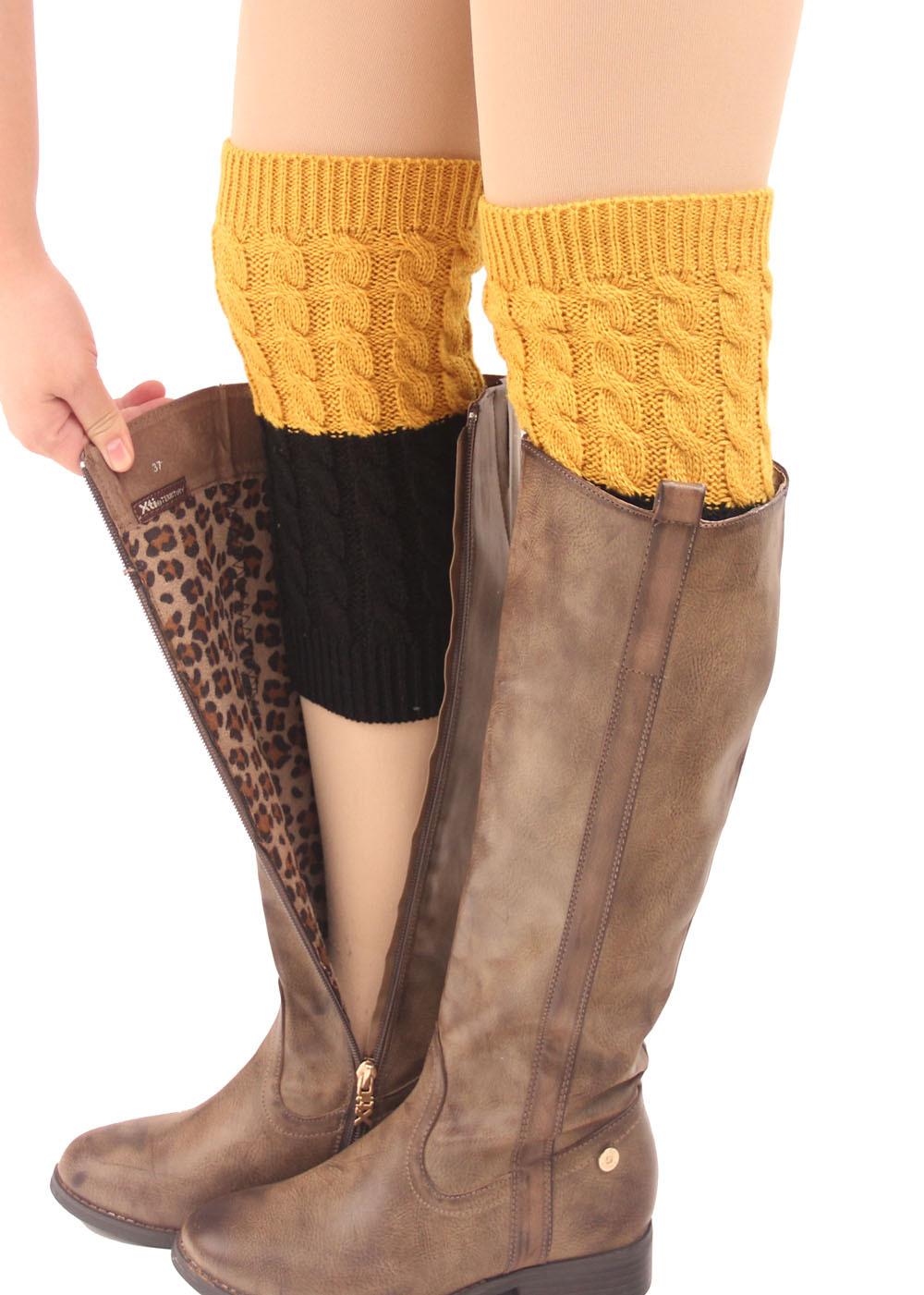 Women's Boot Socks Cuffs Crochet Knitted Stocking Leg Warmers Button Boot Knee Socks Botas De Mujer Boot Socks