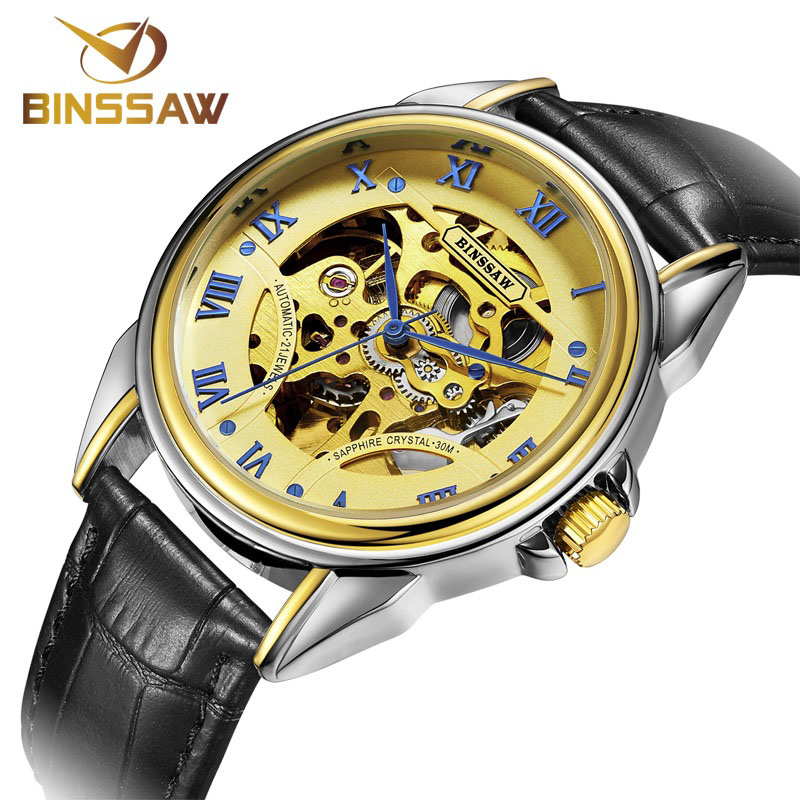 BINSSAW clock Casual Mens Watches Men Luxury Brand Skeleton Leather Strap Mechanical Watch Vintage Reloj Dress Relogio Masculino(China (Mainland))