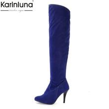 Karinluna Klassische dropship große größen 50 dünne high heels frauen Schuhe Frau 2019 sexy party frauen knie-hohe stiefel frau(China)