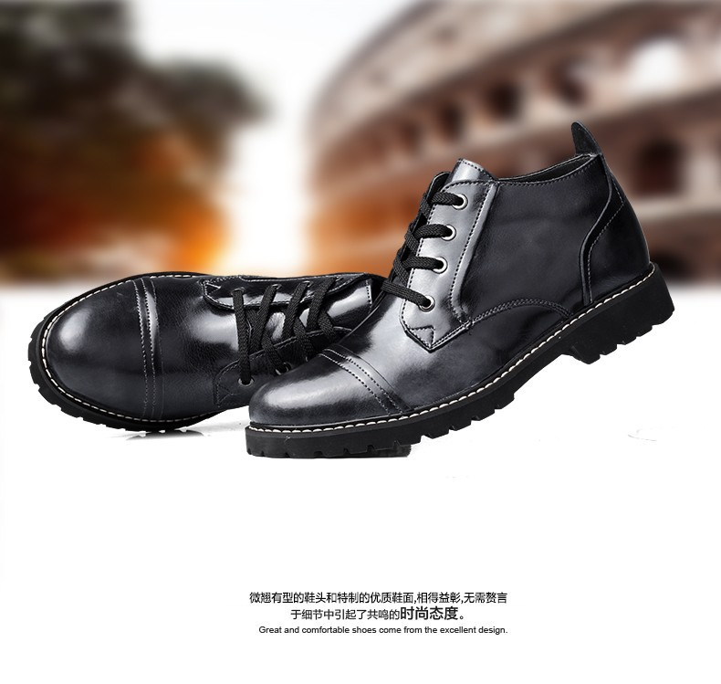 2015 New British Style Warm Men Boots Leather Comfortable Winter Ankle Boots Dress Shoes Leather Boots Fur Men botas masculina
