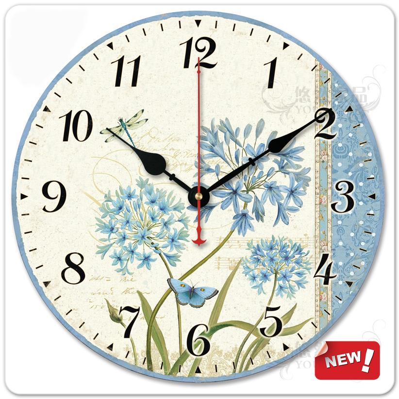 The Mediterranean European countryside style living room decorative flower sun mute quartz clock movement(China (Mainland))