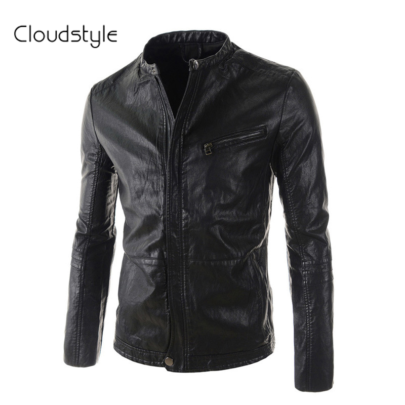Motorcycle PU Leather Jacket Jaqueta De Couro Masculina 2016 New Regular Solid Black &Brown Mandarin Collar Plus 2XL - Cloud fashion clothing store
