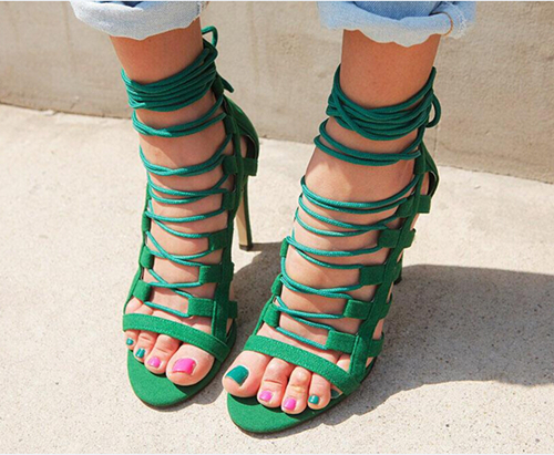Фотография New Sexy Women Sandals Stylish Narrow Band Open Toe Thin High Heels Sandals Fashion Green Black Shoes Woman US Size 4-10.5