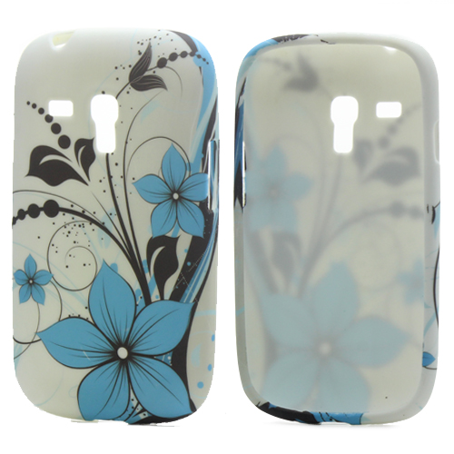 Blue Flowers TPU Gel Cover Cases Accessories Samsung Galaxy I8190 S3 Mini Phone Bags - Yuanwang digital accessories store
